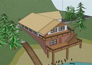 欧式风格详细的滨水别墅住宅设计SU(草图大师)模型
