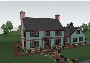 详细的欧式多层别墅住宅设计SU(草图大师)模型