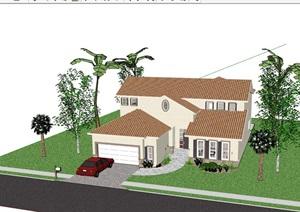 多层欧式风格别墅住宅设计SU(草图大师)模型