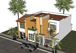 多层欧式风格整体别墅住宅设计SU(草图大师)模型