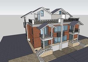 某中式风格双拼住宅别墅住宅设计SU(草图大师)模型