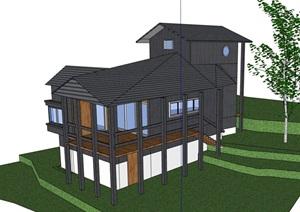 中式风格山地住宅别墅住宅设计SU(草图大师)模型