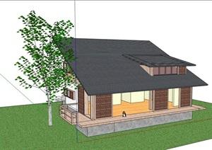 中式风格完整的详细别墅住宅设计SU(草图大师)模型