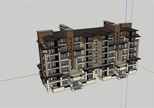 多层新古典风格小区居住楼建筑SU(草图大师)模型