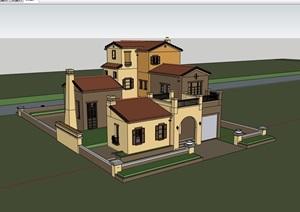 多层详细的完整小区别墅住宅楼SU(草图大师)模型