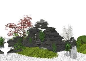 新中式 假山叠石 景观小品 石头 庭院景观SU(草图大师)模型