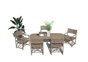 现代餐座椅组合 隔断SU(草图大师)模型6