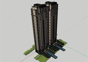 高层详细的完整独特住宅楼建筑SU(草图大师)模型