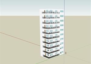 现代风格高层详细住宅楼建筑SU(草图大师)模型
