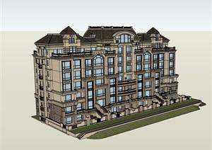 欧式风格小区多层住宅楼建筑SU(草图大师)模型