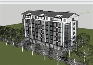 中式风格详细的完整住宅楼建筑SU(草图大师)模型