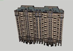 小高层独特的住宅楼建筑SU(草图大师)模型