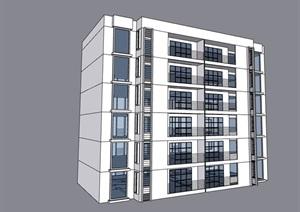某现代风格完整的六层住宅楼建筑SU(草图大师)模型