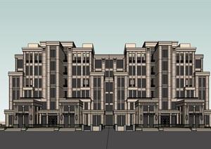现代风格多层完整的独特住宅楼建筑SU(草图大师)模型