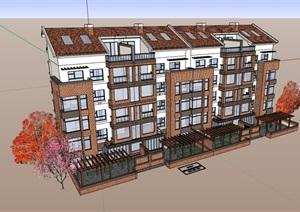 中式风格小区独特住宅楼建筑SU(草图大师)模型