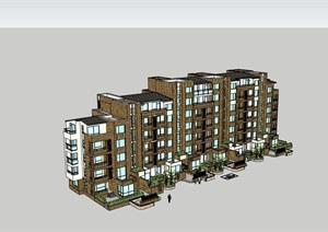 详细的完整多层独特住宅楼建筑SU(草图大师)模型