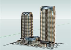 某现代风格高层商业住宅楼建筑SU(草图大师)模型