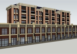 新古典风格住宅小区楼设计SU(草图大师)模型