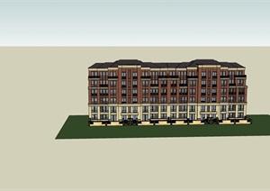 新古典风格完整的详细住宅楼设计SU(草图大师)模型
