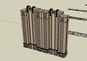 两栋高层详细的居住楼建筑SU(草图大师)亿博网络平台
