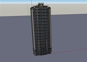 完整的详细居住楼建筑SU(草图大师)亿博网络平台