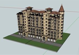 多层详细的整体居住楼建筑SU(草图大师)亿博网络平台