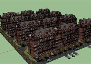 详细的欧式小区居住楼建筑SU(草图大师)亿博网络平台