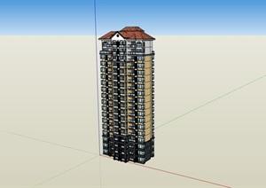 高层的详细欧式小区居住楼建筑SU(草图大师)亿博网络平台