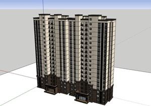 高层现代风格详细的居住楼建筑SU(草图大师)亿博网络平台