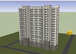 现代风格完整的详细高层居住楼建筑SU(草图大师)亿博网络平台