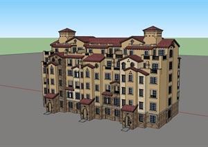 欧式风格高层详细的居住楼建筑SU(草图大师)亿博网络平台
