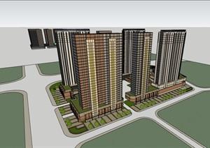 某现代风格商业住宅居住楼建筑SU(草图大师)亿博网络平台