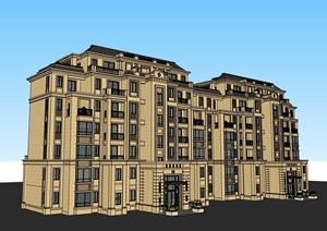 详细的完整欧式多层居住楼建筑SU(草图大师)亿博网络平台