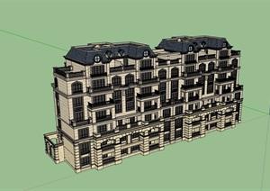 某欧式风格整体详细的居住楼建筑SU(草图大师)亿博网络平台