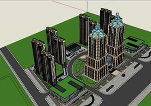 高层详细的整体居住楼建筑SU(草图大师)亿博网络平台