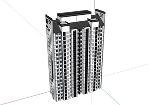 某中式风格完整的详细小区居住楼建筑SU(草图大师)亿博网络平台