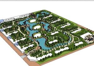 某现代风格详细的完整住宅小区景观设计SU(草图大师)亿博网络平台
