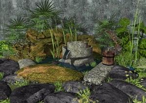新中式景观小品假山水景庭院景观石头植物SU(草图大师)亿博网络平台