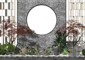 新中式景观小品庭院景观石头 植物 景墙SU(草图大师)亿博网络平台
