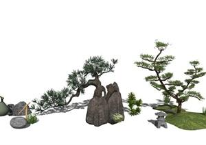 新中式景观小品庭院景观 景观树SU(草图大师)亿博网络平台 (1)
