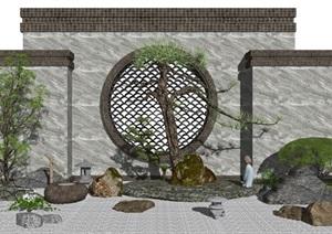 新中式景观小品庭院景观石头 植物 景墙SU(草图大师)亿博网络平台6