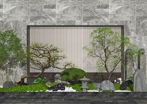 新中式景观小品庭院景观石头 植物 景墙SU(草图大师)亿博网络平台8