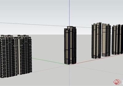 高层现代多栋小区居住楼su亿博网络平台
