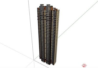 某现代风格整体详细的高层居住楼su亿博网络平台