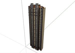 某现代风格整体详细的高层居住楼SU(草图大师)亿博网络平台