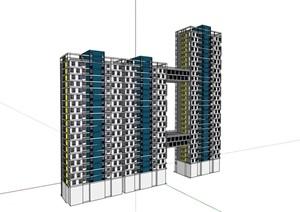 某完整的现代独特居住楼SU(草图大师)亿博网络平台