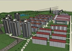 某整体的住宅小区居住楼SU(草图大师)亿博网络平台