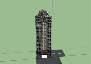 欧式风格详细的高层居住楼SU(草图大师)亿博网络平台