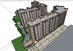 某现代风格完整的独特居住楼SU(草图大师)亿博网络平台