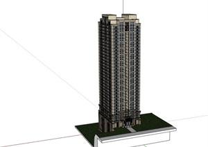 某高层完整的详细小区居住楼SU(草图大师)亿博网络平台
